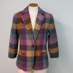 CAbi Happy Blazer Wool Blend Purple Plaid Size 4